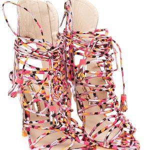 NWT Sophia Webster Lacey Camo Metallic Cage Heels